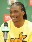 Marquis Daniels and Danny Ainge meet with members of the press today to announce Daniels signing with the Boston Celtics.